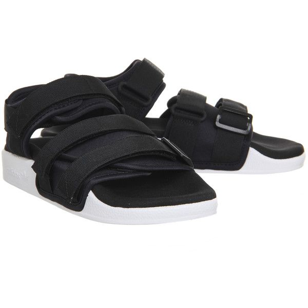 Adidas Adilette Sandals Core Black White (2,980 PHP) ❤ liked on Polyvore featuring shoes, sandals, adidas footwear, white black shoes, adidas shoes, adidas and white and black sandals