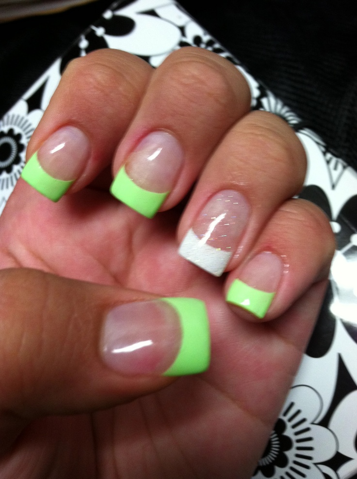Mint Amp White Glitter Tips Acrylic Nails My Pins Pinterest White Glitter Acrylic Nails