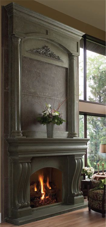 AZZURO cast stone fireplace overmantel