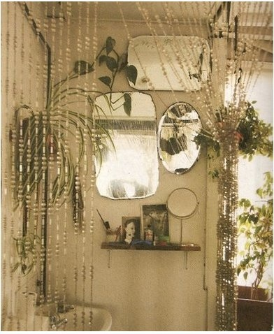 Mirrors and a little shelf....and the gypsy beads <3