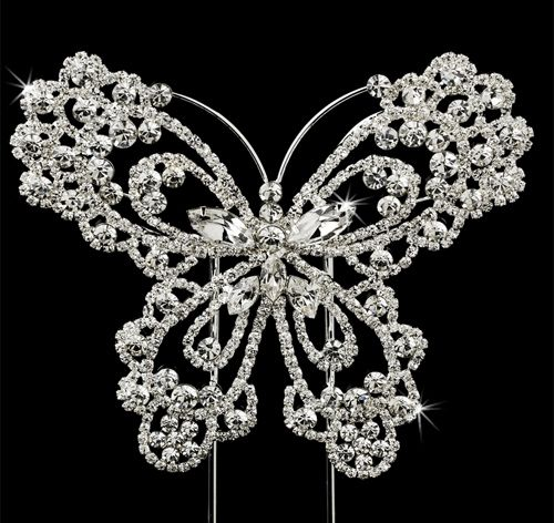Sparkling Rhinestone Crystal Butterfly Cake Topper