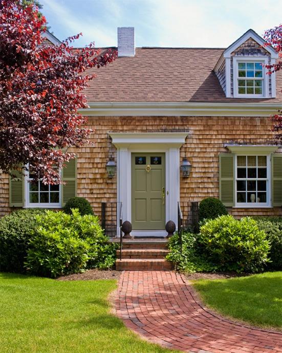 Katie Rosenfeld Interiors traditional exterior cape cod stylegreen front door and shutters & 72 best Front door colors images on Pinterest | Front door colors ...