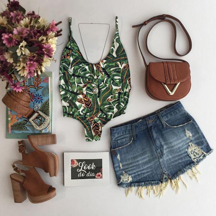 #adorofarm ❤️❤️ Maio Side Boob Estampado Verde | Saia jeans  Compras pelo site: www.estacaodamodastore.com.br . Whatsapp Site: (45)99953-3696 - Thalyta (45)99820-6662 - Jessica . Ou em nossas lojas físicas de Santa Terezinha de Itaipu e Medianeira - PR