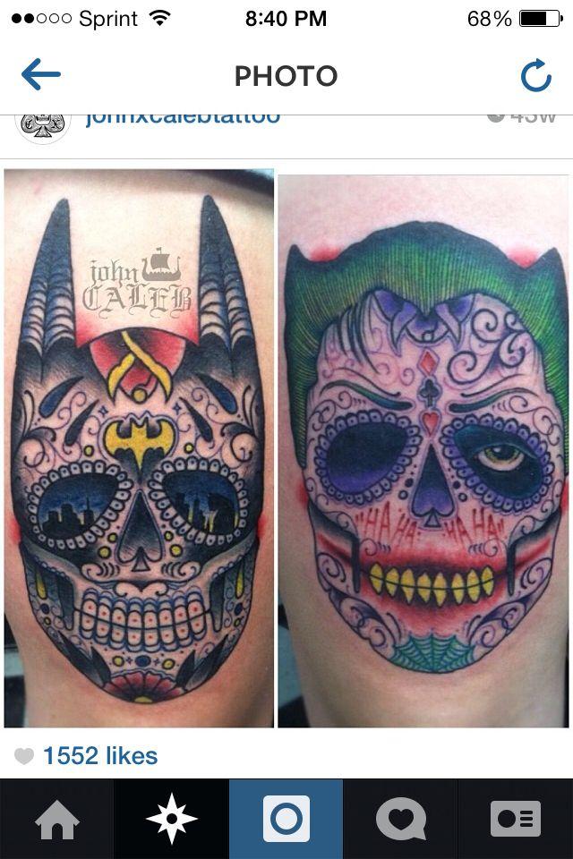 Batman Joker tattoo sugar skull....love the gotham skyline in his eyes