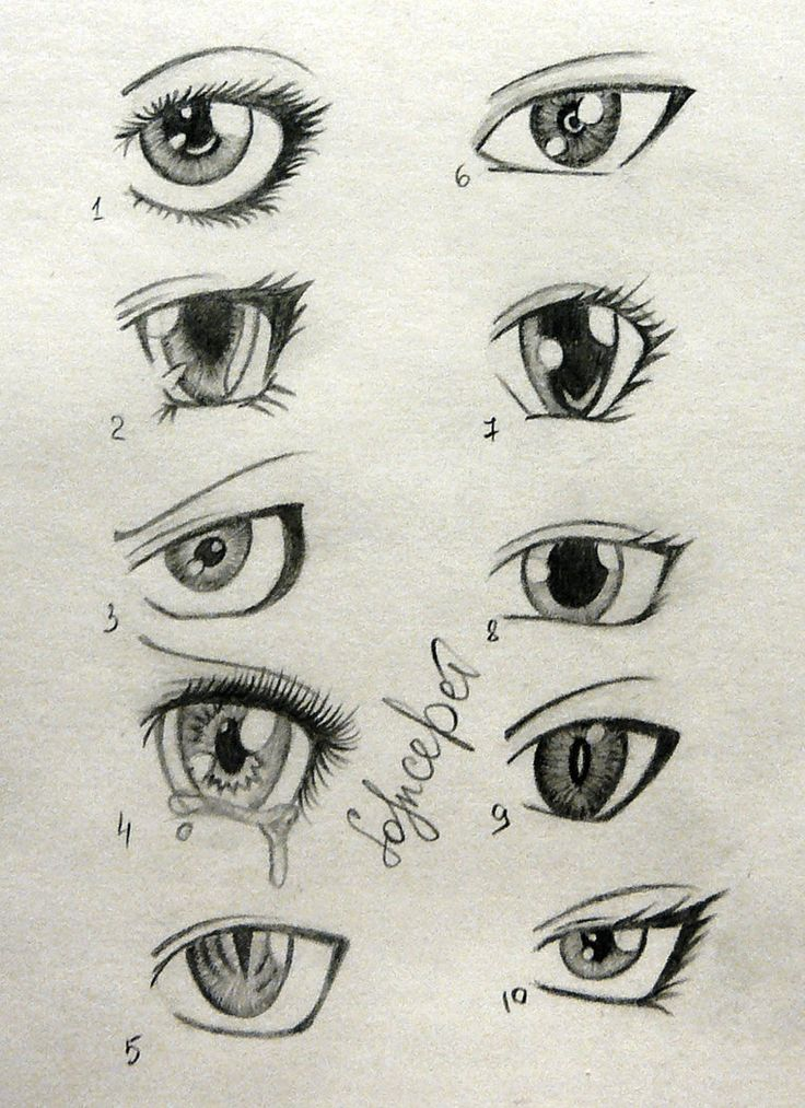 Sketches Of Anime Eyes Only The Right Side