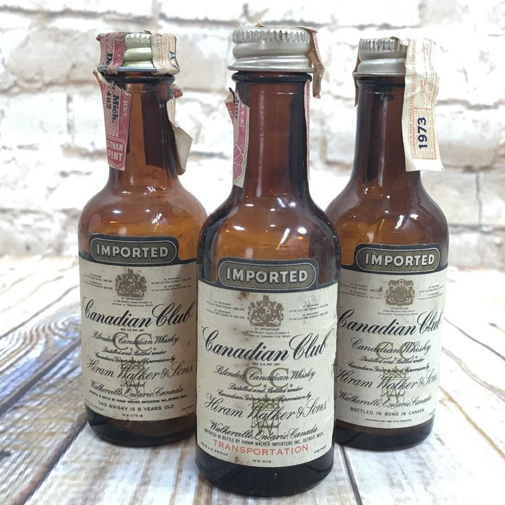 3 Vintage Canadian Club Miniature EMPTY Whiskey Bottles 1/10 Pint Liquor Airline #CanadianClub
