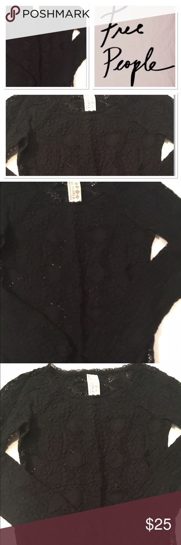 Free People black see through top Like new stylish black top in size XS see through spots Free People Tops Blouses