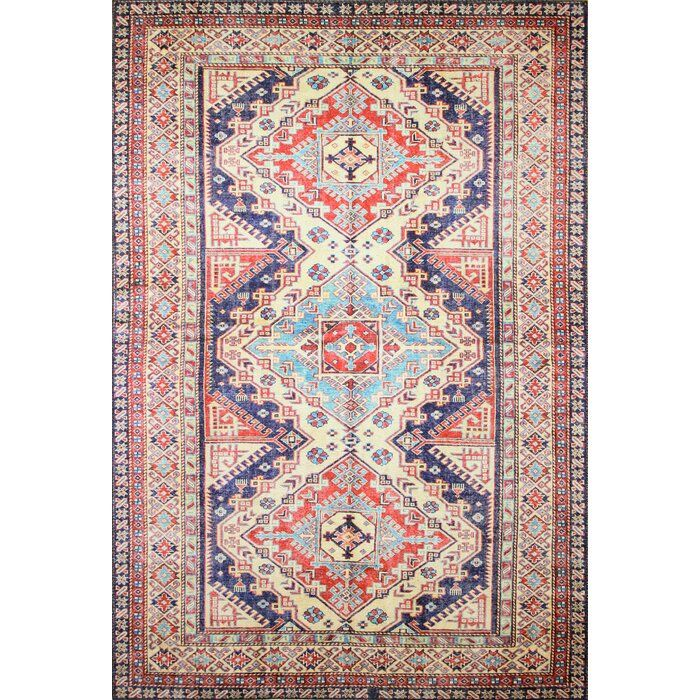 Savala Red Ivory Blue Area Rug With