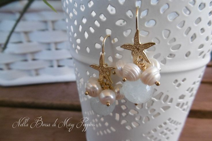 Orecchini a grappolo con acquamarina perle e stella marina in argento 925, orecchini sposa, orecchini damigelle, orecchini da sera di NellaBorsadiMaryPopp su Etsy