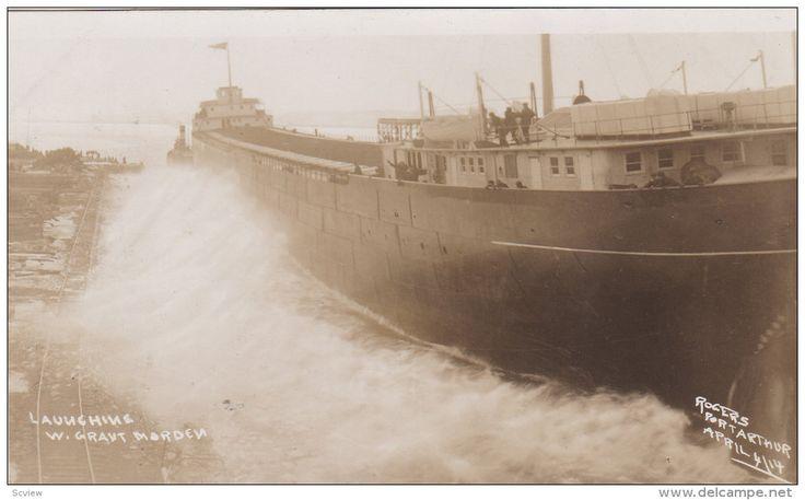 "RP: Ship Launching ""W. Grant Morden"" , PORT ARTHUR , Ontario < Canada , 1914 Item number: 273206534 - Delcampe.com"