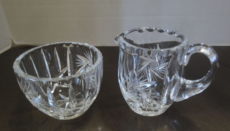 Vintage Pinwheel Cut Crystal Cream And Sugar Bowl Set Elegant & Dainty