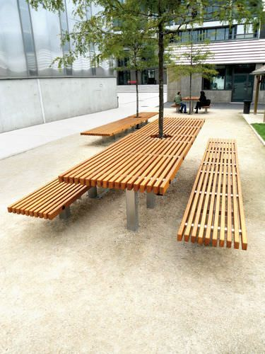 Contemporary tabel and chair set / in wood / stainless steel / for outdoor use OCÉAN Concept Urbain