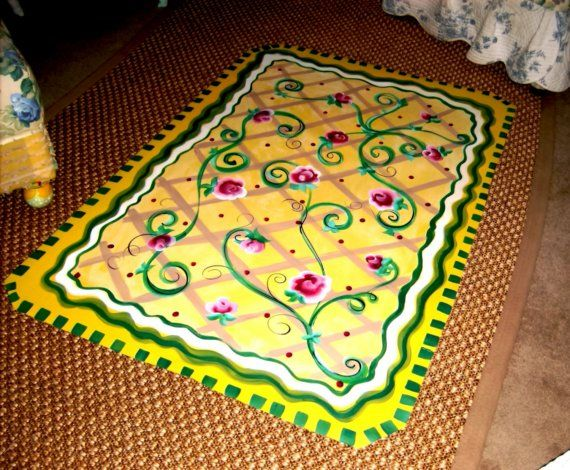 SAMPLE - Rose Floor Cloth. $95.00, via Etsy.