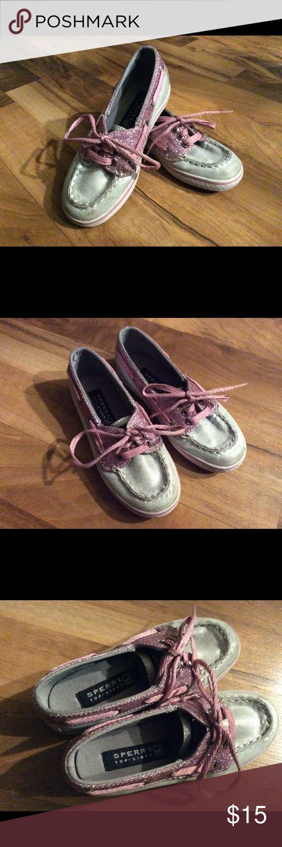 Sperry Top-Sider Cruiser Kids 10.5M Girls Toddler size 10.5M Silver & Pink Sperry Top-Sider Cruiser some light spots on the toes. No other spots that I️ could find. Med/light wear overall.  Non-smoking environment. Cat-friendly (not really, but he lives here & sneaks in the posh room when we're not looking) environment.  I try to ship within 24hrs of sale. Sperry Top-Sider Shoes