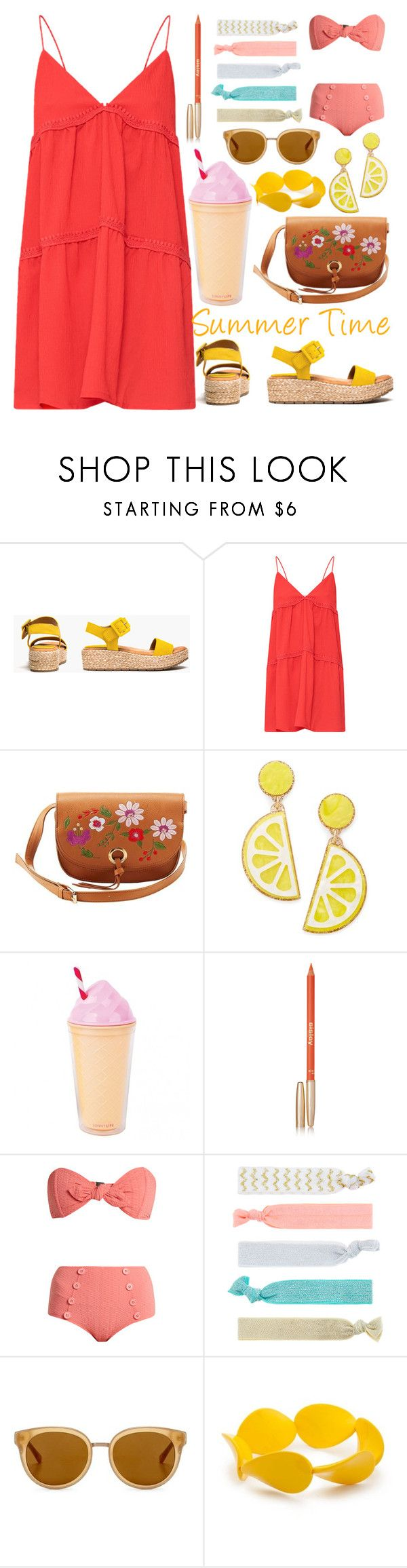 """""""Summer Time"""" by ayiarundhati ❤ liked on Polyvore featuring Kenneth Cole Reaction, Charlotte Russe, Celebrate Shop, Sisley, Lisa Marie Fernandez, Accessorize, Draper James and Kim Rogers"""