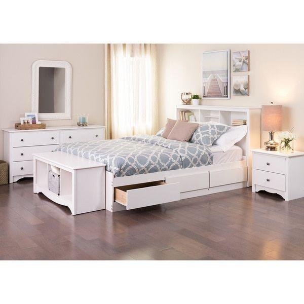 prepac winslow white queen platform storage bed