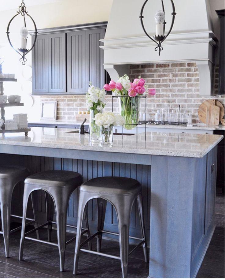 Kitchen with Aidan Gray Light Pendants Brick