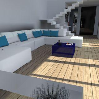 Decoração Sala de Estar Sofá branco com Almofadas em azul ...