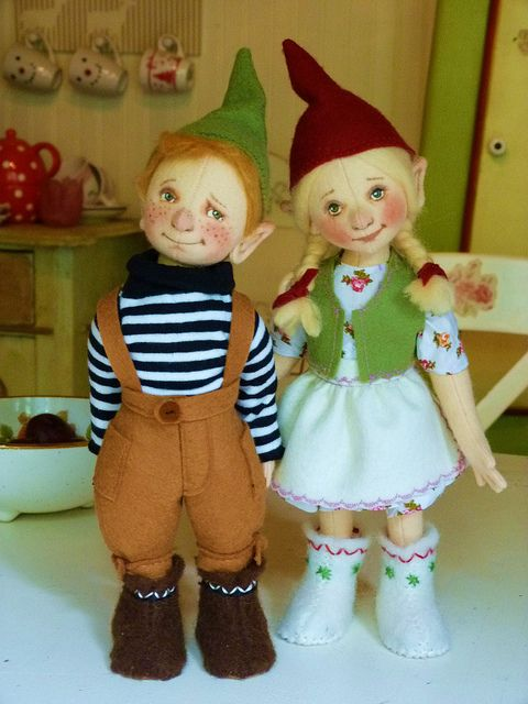 The Gnome children Handmade wool felt dolls, 11 inch helen priem
