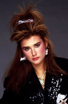 80's crimped long hair