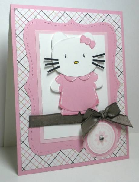 Hello Kitty: Kitty Cards, Cards Punchart, Lists Cards, Kids Cards, Art Cards, Hello Kitty Birthday, Birthday Cards, Cards Girly, Cards Kids