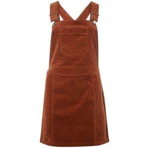 Dorothy Perkins Pecan Dungaree Cord Pinny Dress