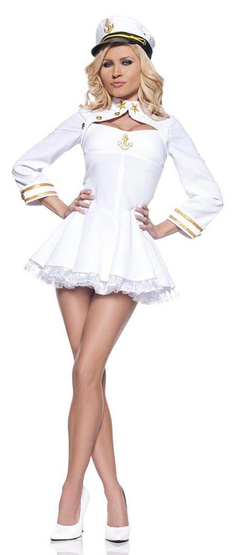 Elegant Admiral Sailor White Mini Dress Costume Adult