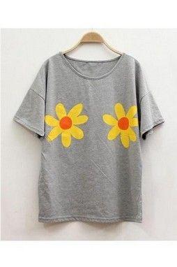 GrabMyLook Yellor Orange Double Flowers Round Neck Cotton T-Shirt