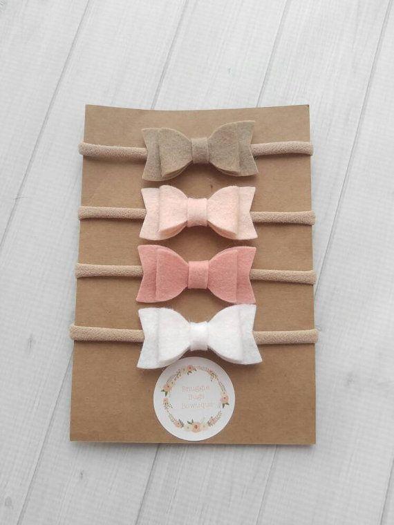 Set of 4 Mini Chunky Wool Felt  Bow by SnuggleBugsBowtique on Etsy
