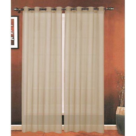 Elegant Comfort Luxury 2-Piece Grommet SHEER PANEL/CURTAIN - Window Curtains 54-inch width X 84-inch Length -  Taupe