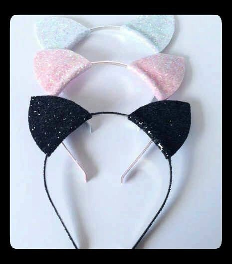 Glitter Cat Ear Headbands by MonroesHouseofMarvel on Etsy https://www.etsy.com/listing/243727041/glitter-cat-ear-headbands