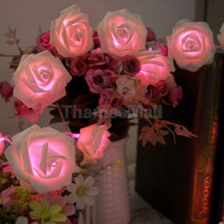 "20-LED 86"" Wedding Rose Flower String Lamp Fairy Light Hanging Tree Decor #Unbranded"