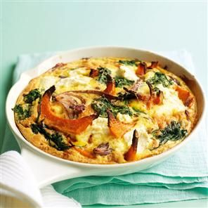 Pumpkin, spinach, ricotta and sage tortilla recipe. This cheesy tortilla uses mainly egg white, so it's lower in carbs and calories.