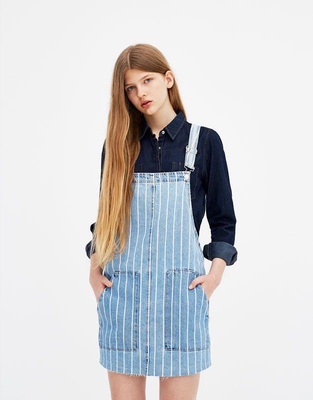 dd1ebb8ab7 Striped denim pinafore dress - PULL&BEAR | || s u m m e r 1 9 ...