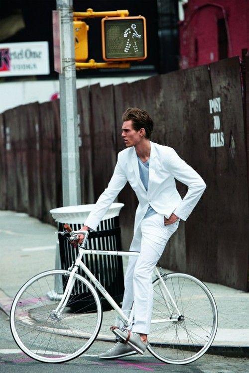 Bike Swag: Fashion Men, All White, Summer Suits, White Blazers, White On White, Street Style, Men Style, Men Fashion, White Suits