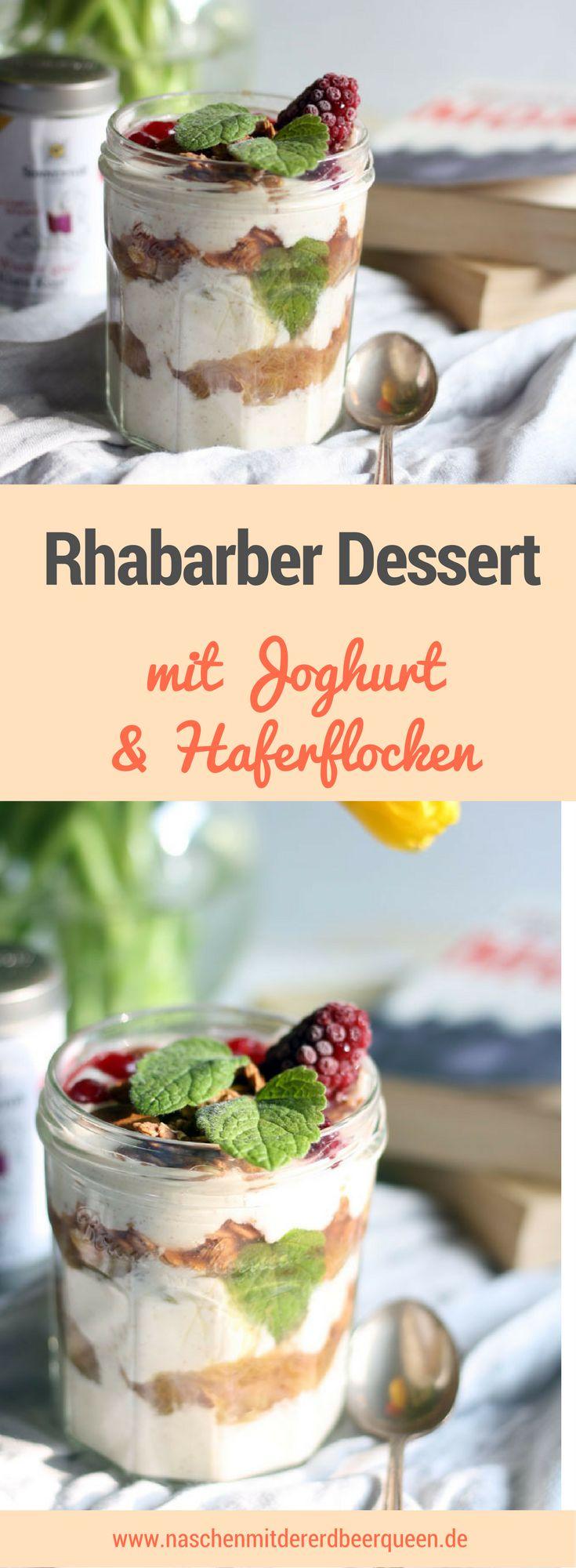 Rezept für ein Rhabarber Dessert mit Haferflocken in Schokolade und Joghurt. Was macht man mit Rhabarber? Rhabarberkompott und ein Dessert. Das Rezept und noch mehr Rhabarberrezepte findest du auf dem Blog www.naschenmitdererdbeerqueen.de