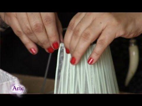 Cómo forrar pantallas para lámparas (tutotrial-DIY)   Restaur-arte - YouTube