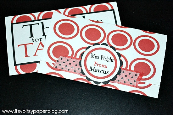 Itsy Bitsy Paper: Teacher Gift thanks for keeping me on target: Creative Gifts, Teacher Gifts, Cards Stuff, Gifts Ideas, Appreciation Gifts, Gift Cards, Gifts Cards Holders, Teacher Ideas, Gift Card Holders
