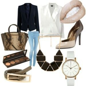Elegant outfit michael kors bag  watch nude leather pump necklace nude eye palettes  belt giorgio armani white bluse black blazer nude lips