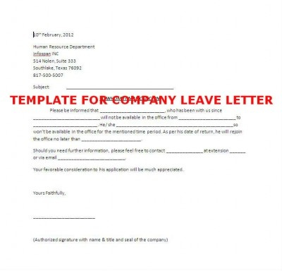 Template of Company Leave Letter #stepbystep Books \ Literature - leave letter