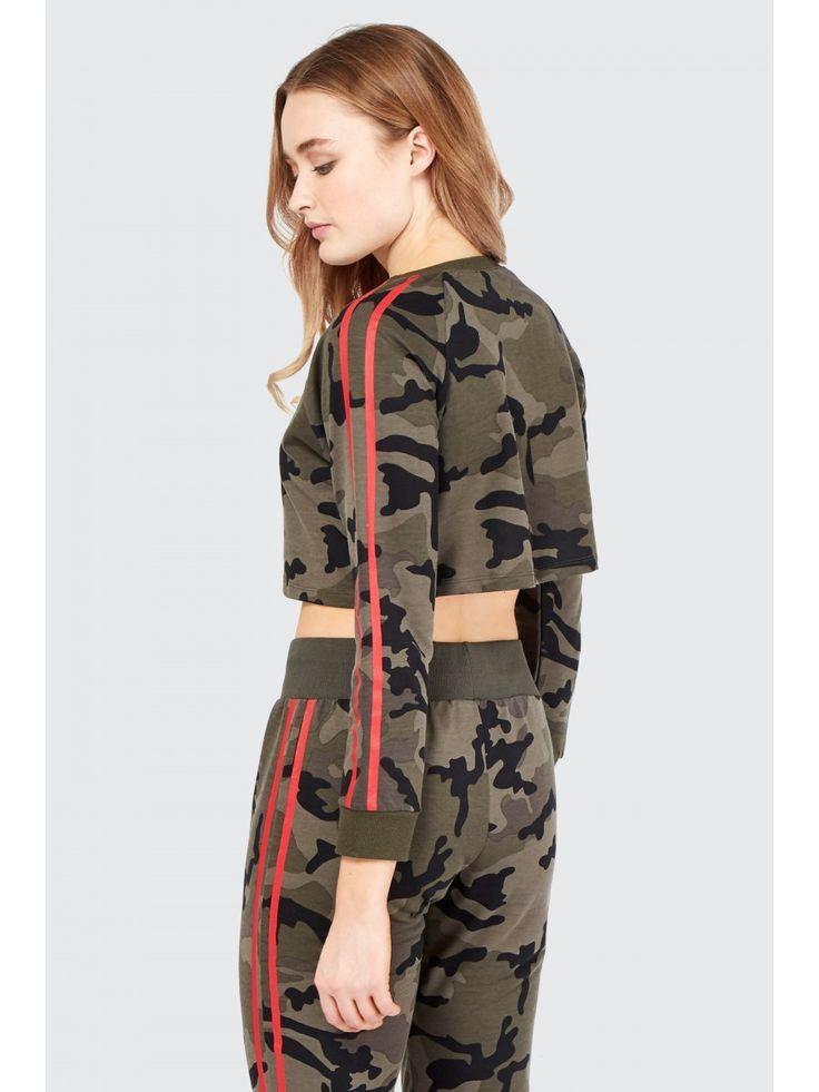 Super Crop Camo Sweatshirt - Women's Sweat   Select Fashion
