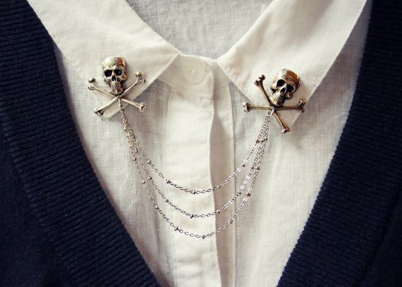 skull collar pins collar chain collar brooch by alapopjewelry
