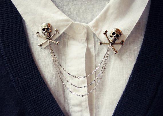 goupilles de crâne de collier, collier chaîne, épinglette, axe du crâne, broche collier broche crâne