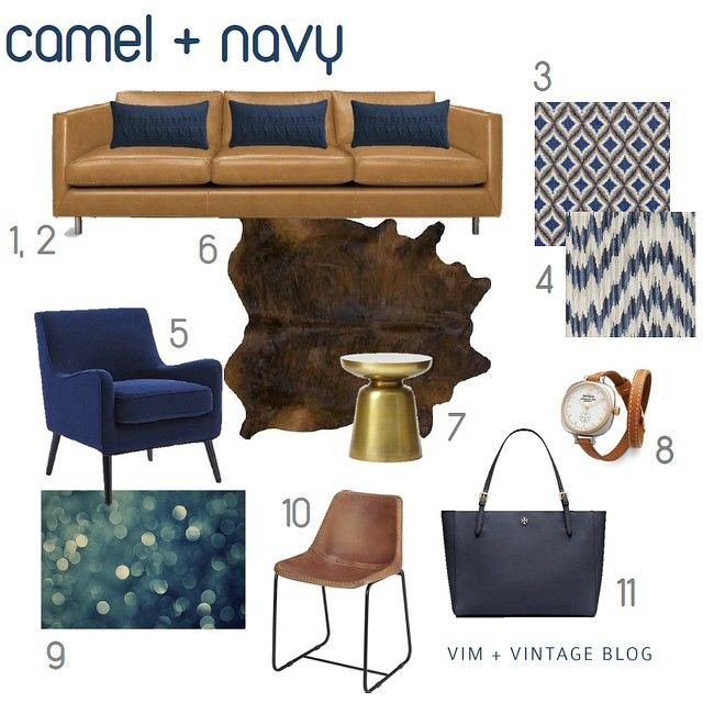 This lovely fall color scheme is on the blog this morning! {link in profile}You can't go wrong with a simple, streamlined leather sofa Don't be so square! Do 3 navy lumbar pillows for a nice twist Loving this retro mod fabric by Robert Allen Mix up the patterns a bit with this Duralee fabric Accent chairs in deep blue velvet add drama and contrast Add luxury and texture with a cowhide rug He may be little, but this brass side table will sure make a statement