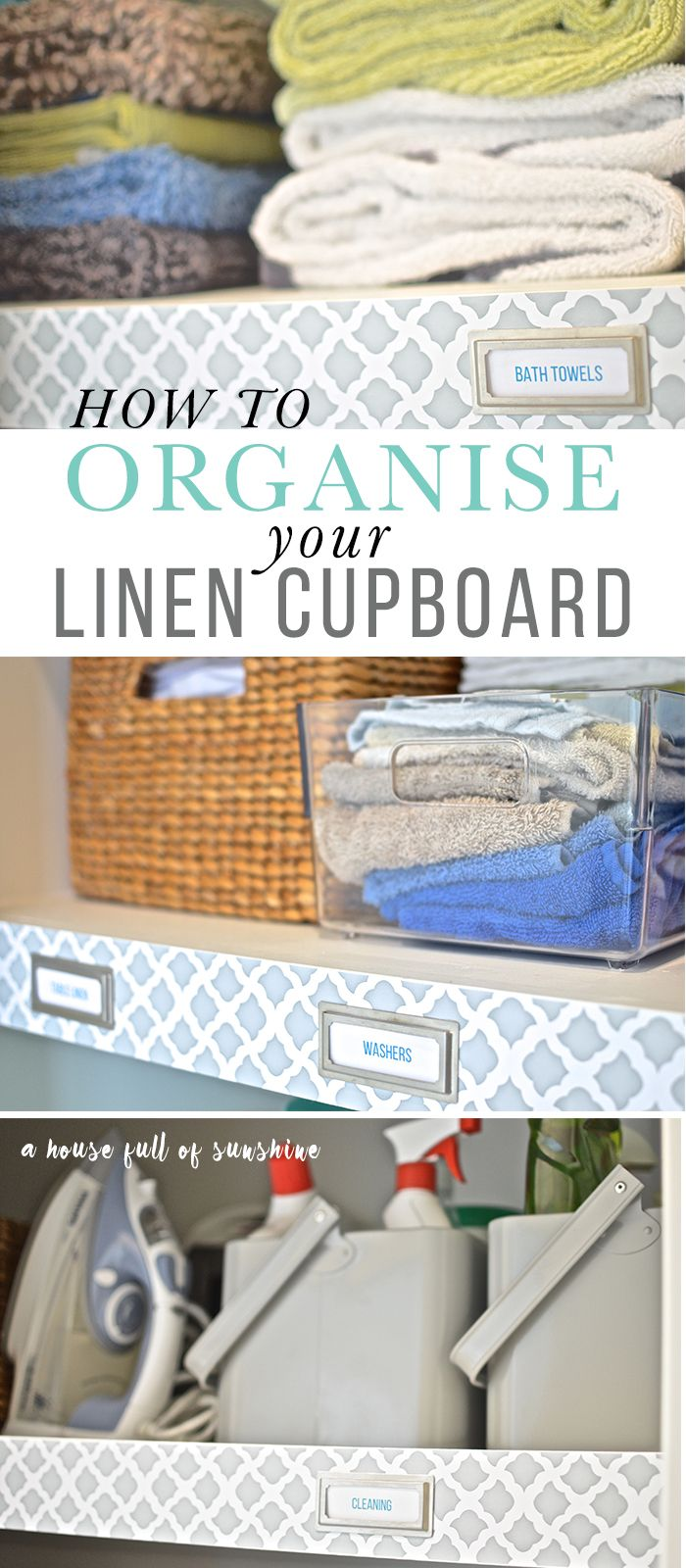 Seven practical tips and hacks for organising your linen cupboard, plus a checklist of items to throw away. This linen cupboard makeover is gorgeous! via @karenschrav