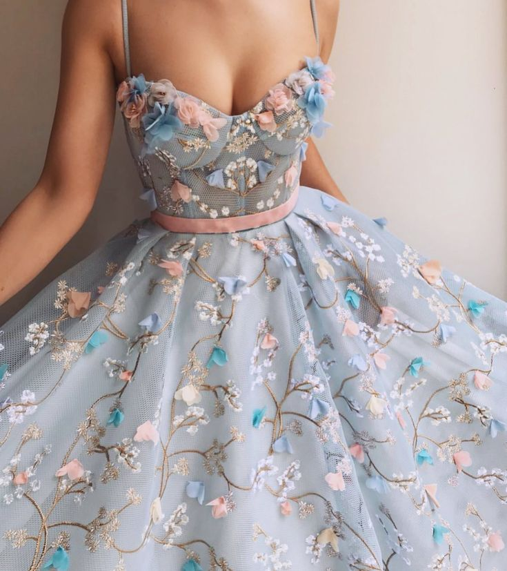 Blue and pink floral ribbon sweetheart neckline A line dress – Mode