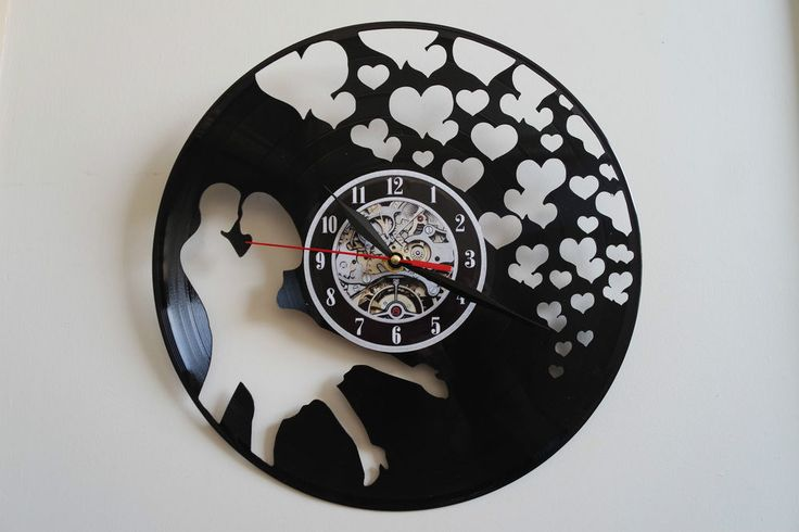 Love with hearts design vinyl record wall clock
