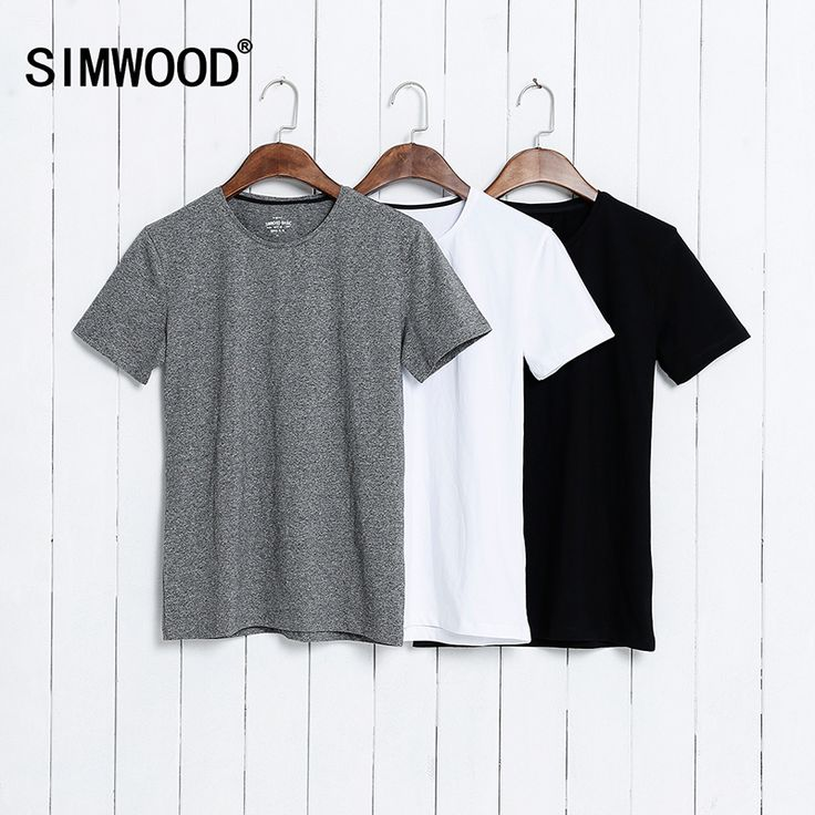 SIMWOOD 2017 Summer Brand Men's Short-sleeved Cotton skinny T-shirt  Shirt Solid Casual O-Neck Male Tops & Tees Plus Size TD1067