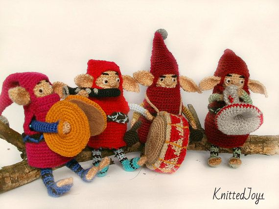 Funny gnomes crochet cartoon gnome doll  dwarves  by KnittedJoy1