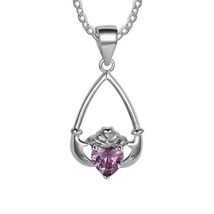 Post Included Aus Wide and to most international countries! >>>  Claddagh Birthstone Heart Drop Necklace - 925 Sterling Silver